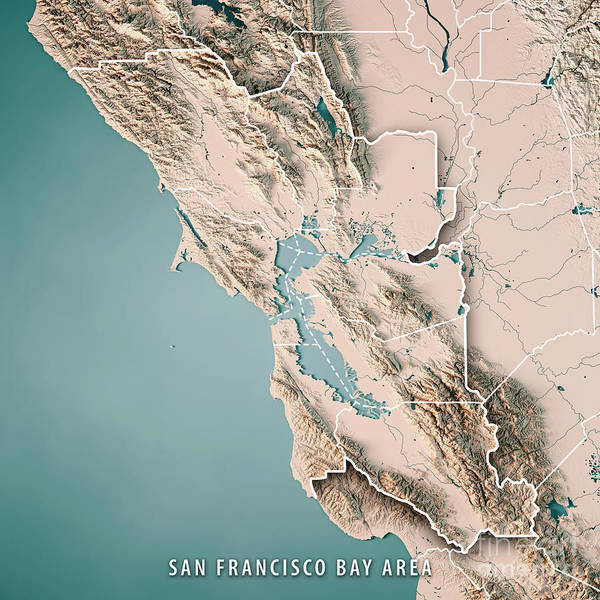 Wall Art - Digital Art - San Francisco Bay Area Usa 3d Render Topographic Map Neutral by Frank Ramspott