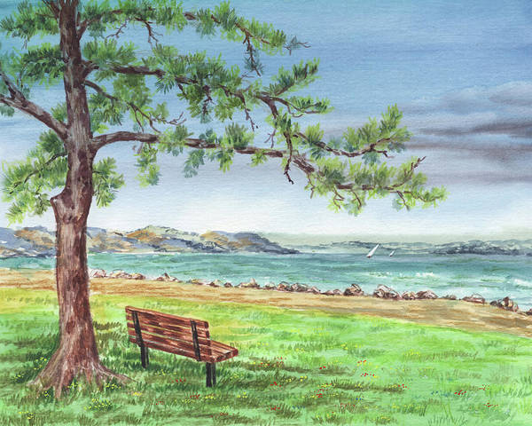 Wall Art - Painting - San Francisco Bay Shore Watercolor Landscape by Irina Sztukowski