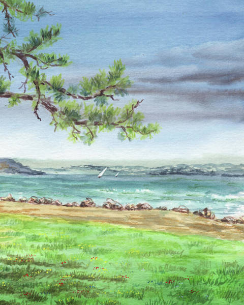 Wall Art - Painting - San Francisco Bay Shore Watercolour Landscape by Irina Sztukowski