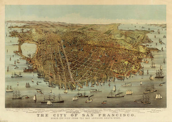 Wall Art - Painting - San Francisco Birds Eye View by Charles Parsons