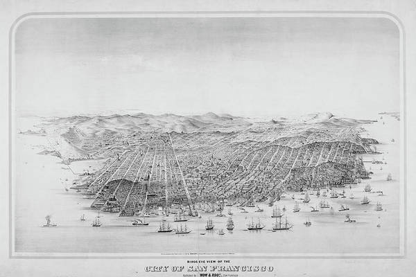 Digital Art - San Francisco Bird's Eye View Historical Map Black And White by Toby McGuire