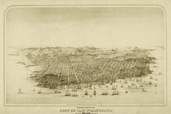 Digital Art - San Francisco Bird's Eye View Historical Map Sepia by Toby McGuire