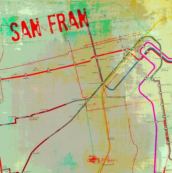 West Bay Digital Art - San Francisco Cable Lines V3 by Brandi Fitzgerald