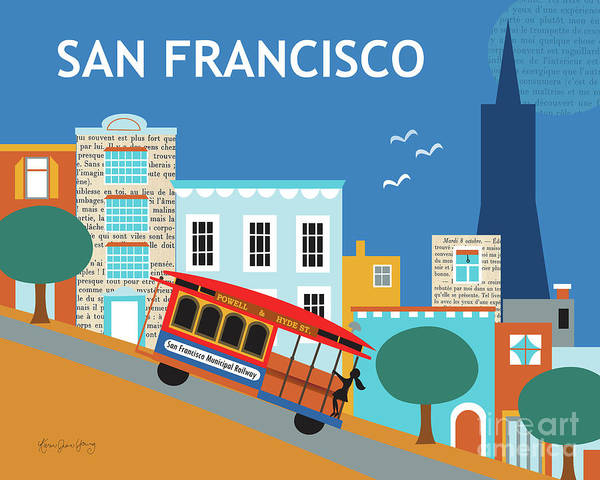 Cable Digital Art - San Francisco California Horizontal Skyline - Nob Hill by Karen Young