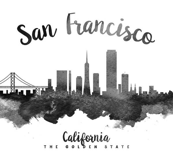Wall Art - Painting - San Francisco California Skyline 18 by Aged Pixel