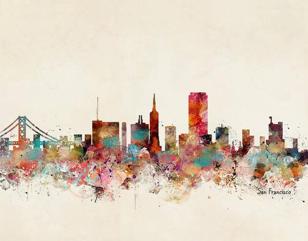 San Francisco Skyline Wall Art - Painting - San Francisco California Skyline by Bri Buckley