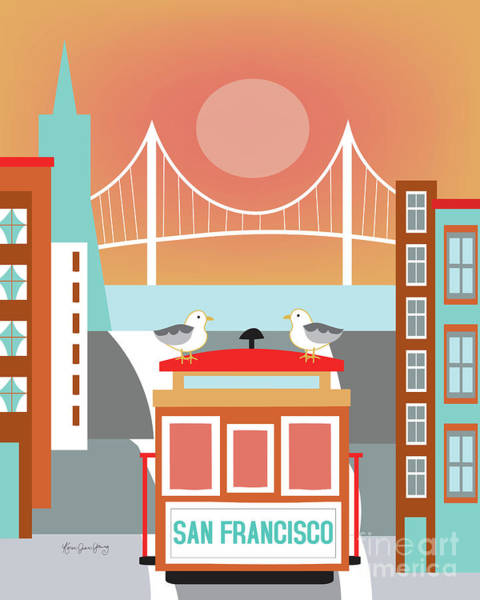 Cable Digital Art - San Francisco California Vertical Skyline - Seagulls On Trolley by Karen Young