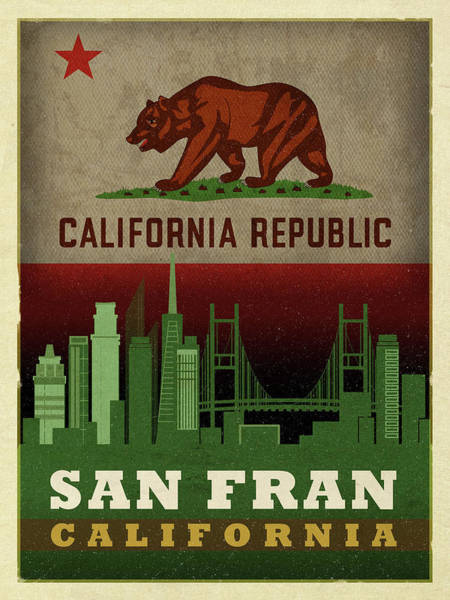 Wall Art - Mixed Media - San Francisco City Skyline State Flag Of California Art Poster Series 019 by Design Turnpike