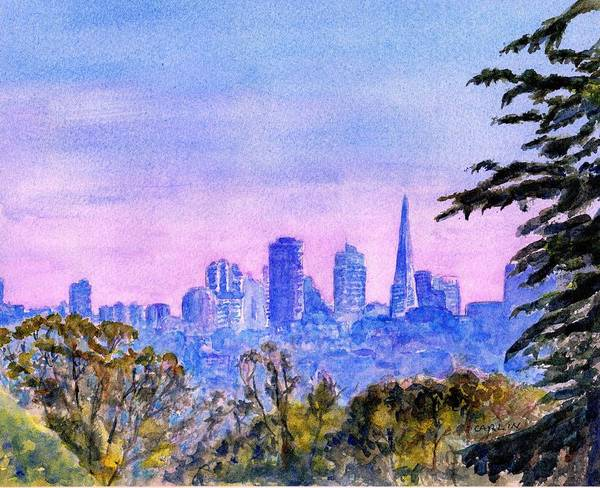 Tall Buildings Painting - San Francisco City Skyline Watercolor by Carlin Blahnik CarlinArtWatercolor
