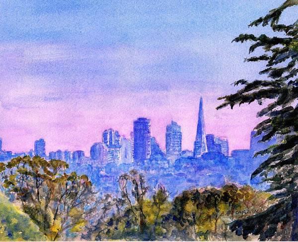 Painting - San Francisco City Skyline Watercolor by Carlin Blahnik CarlinArtWatercolor