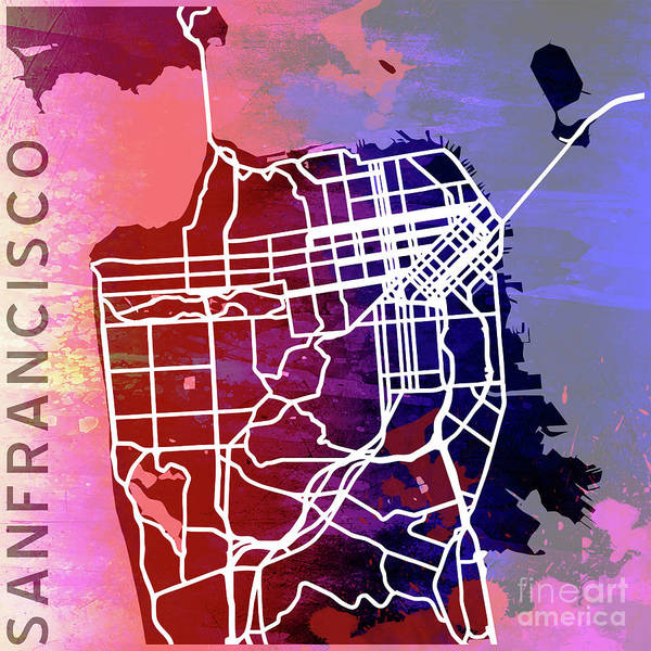 Mapping Digital Art - San Francisco by Delphimages Photo Creations