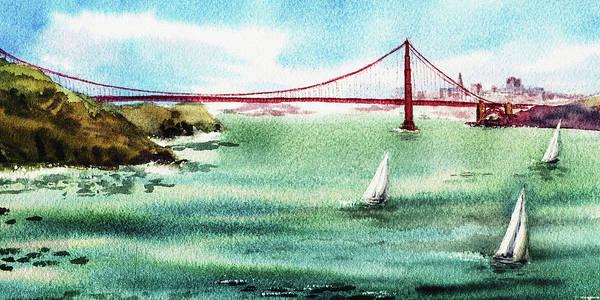 Golden Gate Painting - San Francisco Elongated Painting by Irina Sztukowski