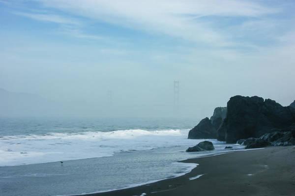West Bay Digital Art - San Francisco Fog - Barely Discernible Golden Gate Bridge From China Beach by Georgia Mizuleva
