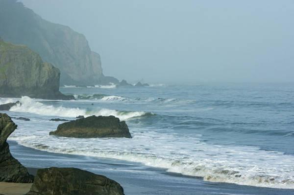 West Bay Digital Art - San Francisco Fog - China Beach Rolling Surf by Georgia Mizuleva