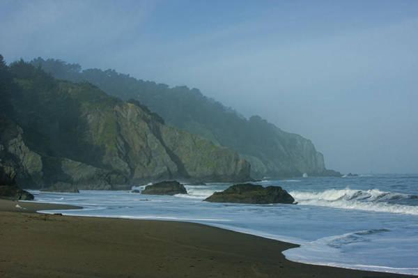 West Bay Digital Art - San Francisco Fog - China Beach Soft Foam Rough Rocks by Georgia Mizuleva