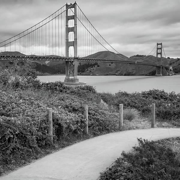 Photograph - San Francisco Golden Gate Bridge - Black And White Square Art by Gregory Ballos