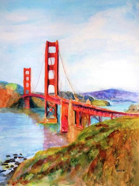 West Bay Painting - San Francisco Golden Gate Bridge Impressionism by Carlin Blahnik CarlinArtWatercolor