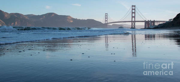 San Francisco Golden Gate Bridge Reflected On Baker's Beach Wet  Art Print