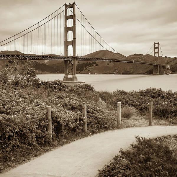 Photograph - San Francisco Golden Gate Bridge - Sepia Square Art by Gregory Ballos