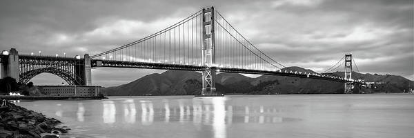Photograph - San Francisco Golden Gate Panorama - Black And White by Gregory Ballos