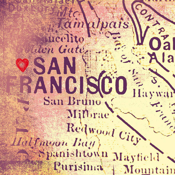 Teal Mixed Media - San Francisco Heart Map V4 by Brandi Fitzgerald