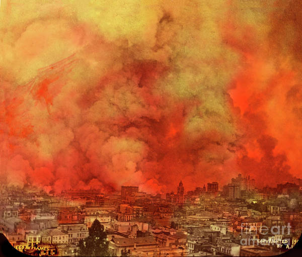 Photograph - San Francisco In Flames April 18, 1906 by California Views Archives Mr Pat Hathaway Archives