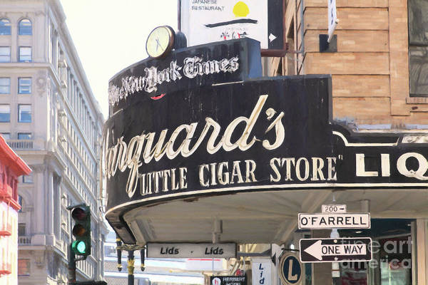 Photograph - San Francisco Marquard's Little Cigar Store On Powell And O'farrell Streets 5d17954 Painterly by San Francisco Art and Photography