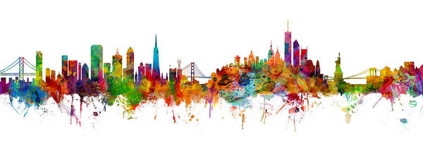 Wall Art - Digital Art - San Francisco New York Skyline Mashup by Michael Tompsett