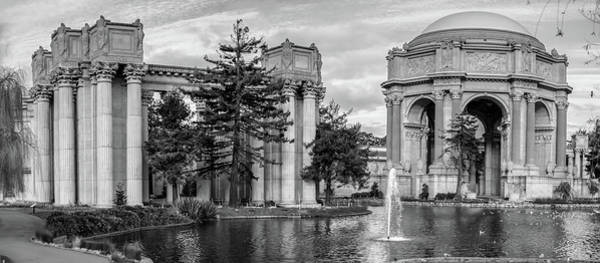Photograph - San Francisco Palace Of Fine Arts Panorama - Black And White by Gregory Ballos