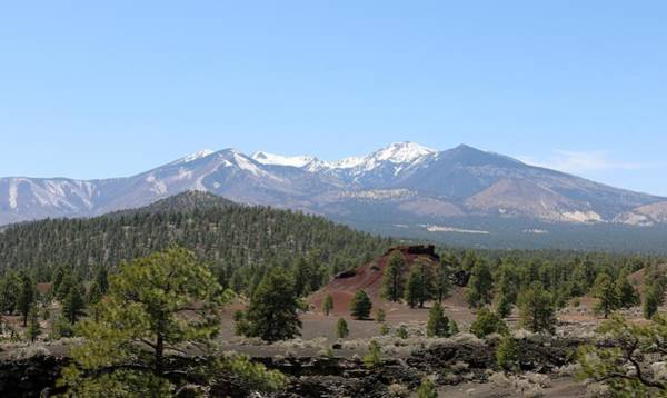 Photograph - San Francisco Peaks At Sunset Crater Volcano National Monument - 8 by Christy Pooschke
