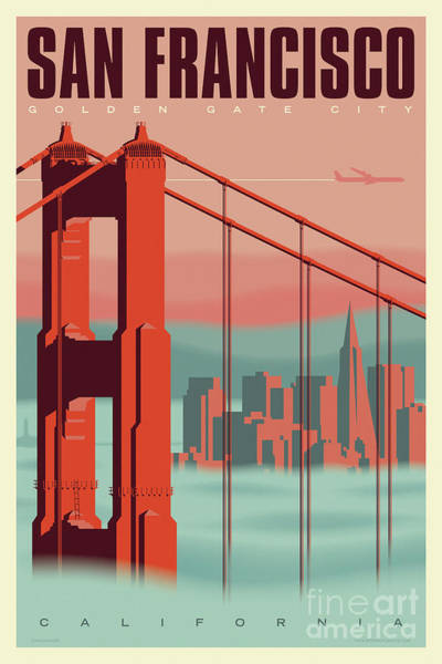 Golden Digital Art - San Francisco Poster - Vintage Travel by Jim Zahniser