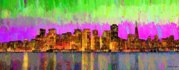 Harbor Scene Digital Art - San Francisco Skyline 15 - Da by Leonardo Digenio