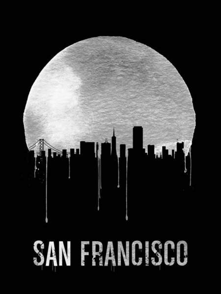 Wall Art - Painting - San Francisco Skyline Black by Naxart Studio
