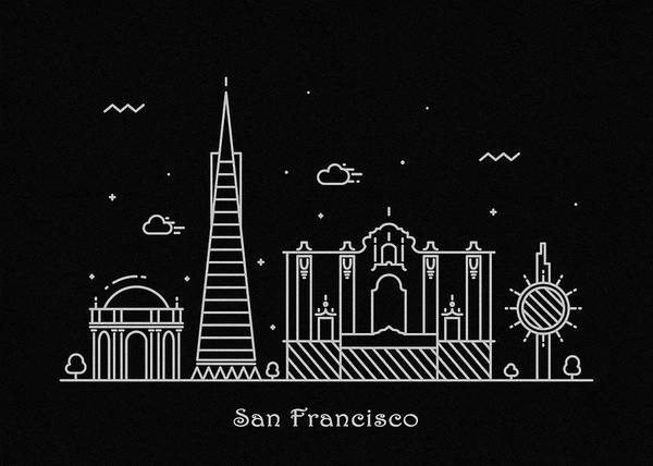 Wall Art - Drawing - San Francisco Skyline Travel Poster by Inspirowl Design