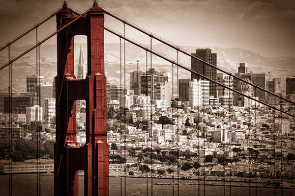 Golden Photograph - San Francisco Through The Bridge by Matt  Trimble