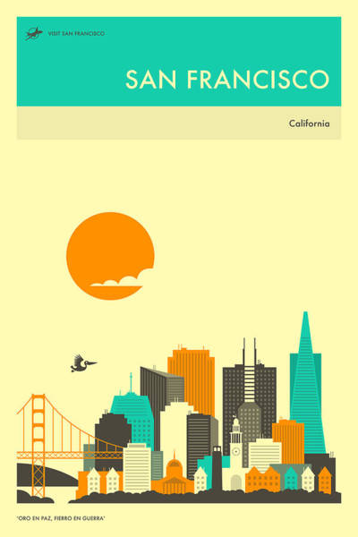 San Francisco Skyline Wall Art - Digital Art - San Francisco Travel Poster by Jazzberry Blue