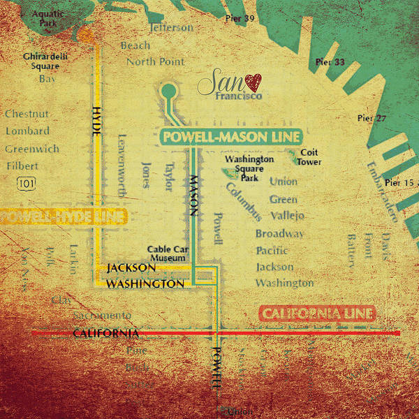 Teal Mixed Media - San Francisco Trolley Map by Brandi Fitzgerald