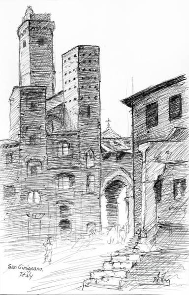 Wall Art - Drawing - San Gimignano Towers In Italy Pen And Ink Drawing by Adam Long