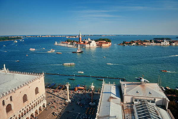 Photograph - San Giorgio Maggiore Island Rooftop View by Songquan Deng