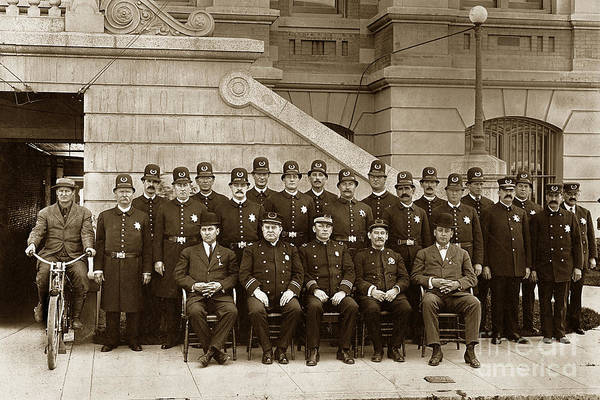 Photograph - San Jose Police Department Circa 1900 by California Views Archives Mr Pat Hathaway Archives