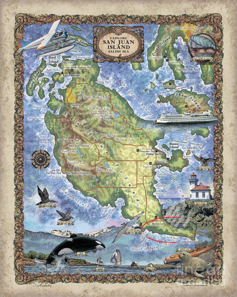 Port Townsend Painting - San Juan Island, San Juan Islands Map, Hand-painted Historic Map, Island Art, Northwest Art by Lisa Middleton