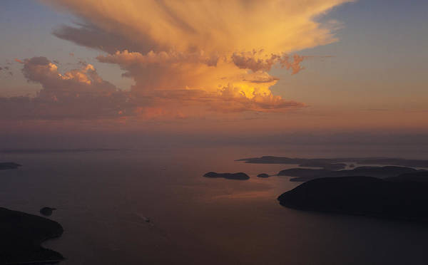 Victoria Harbor Wall Art - Photograph - San Juan Islands Aerial Thunderstorm by Mike Reid
