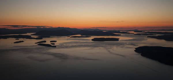 Victoria Harbor Wall Art - Photograph - San Juans Islands Aerial Sunset Calm Dusk by Mike Reid