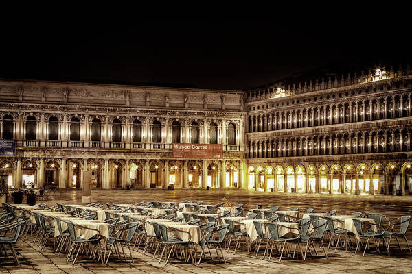 St Andrews Photograph - San Marco Cafes At Night by Andrew Soundarajan