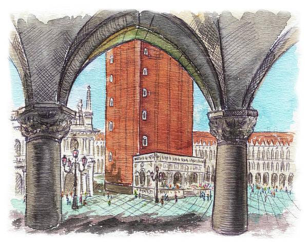 Square Tower Painting - San Marcos Square Venice Italy by Irina Sztukowski