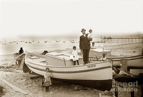 Photograph - San Pierro Fishing Boat On Monterey Beach Circa 1908 by California Views Archives Mr Pat Hathaway Archives