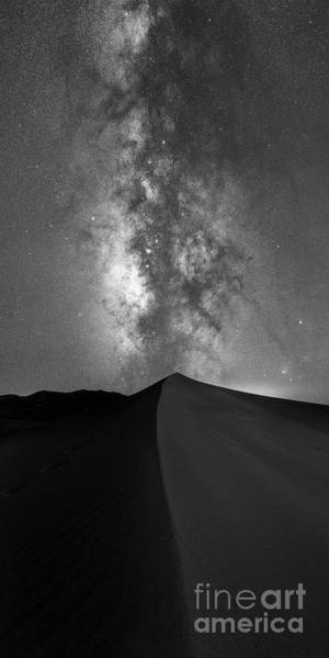 Photograph - Sand Dune Milky Way Panorama Bw by Michael Ver Sprill