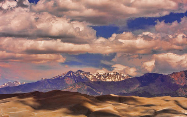 Photograph - Sand Dunes - Mountains - Snow- Clouds And Shadows by James BO Insogna