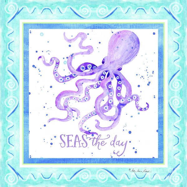 Wall Art - Painting - Sand 'n Sea - Octopus Seas The Day Scrollwork by Audrey Jeanne Roberts