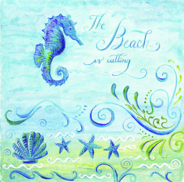 Wall Art - Painting - Sand 'n Sea - Seahorse Scallop Starfish N Scrollwork Acrylic Watercolor by Audrey Jeanne Roberts